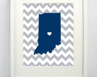 Indianapolis, Indiana State Giclée Map Art Print - 8x10 - Royal Blue and Gray Print- Graduation Gift Idea - Dorm Decor