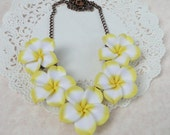 Yellow Plumeria Frangipani Flower Bib Style Necklace in Polymer Clay