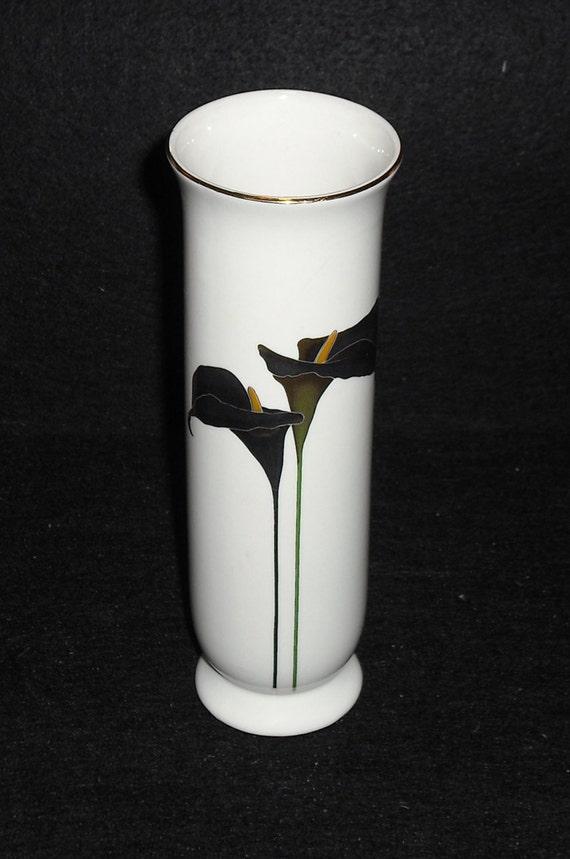 vintage otagiri japan golden calla lily gold silver bud vase