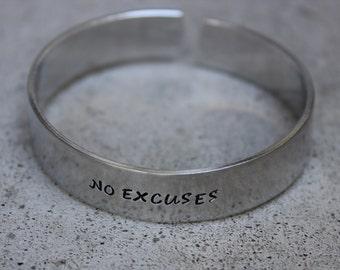 No Excuses Motivational Aluminum Cuff Bracelet