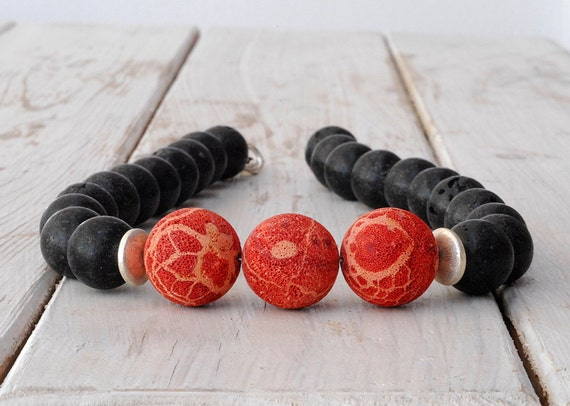 Black Lava Rock Necklace - Red Coral - Santorini Necklace - Red and Black - Statement Necklace - High Fashion - Fine Jewelry - Spring 2013