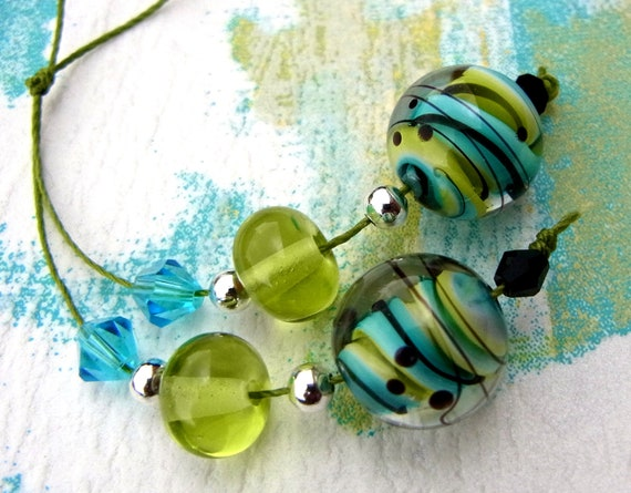 Refresh - bead pair for earrings - Handmade Lampwork Bead Set (4) by Anne Schelling, SRA