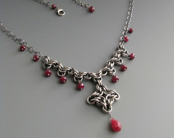 Byzantine Diamond Chainmaille Necklace with Ruby