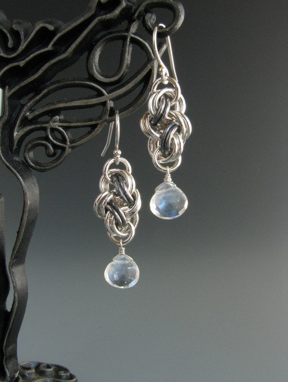 Chainmail Earrings Double Cloud Cover with Rainbow Moonstone