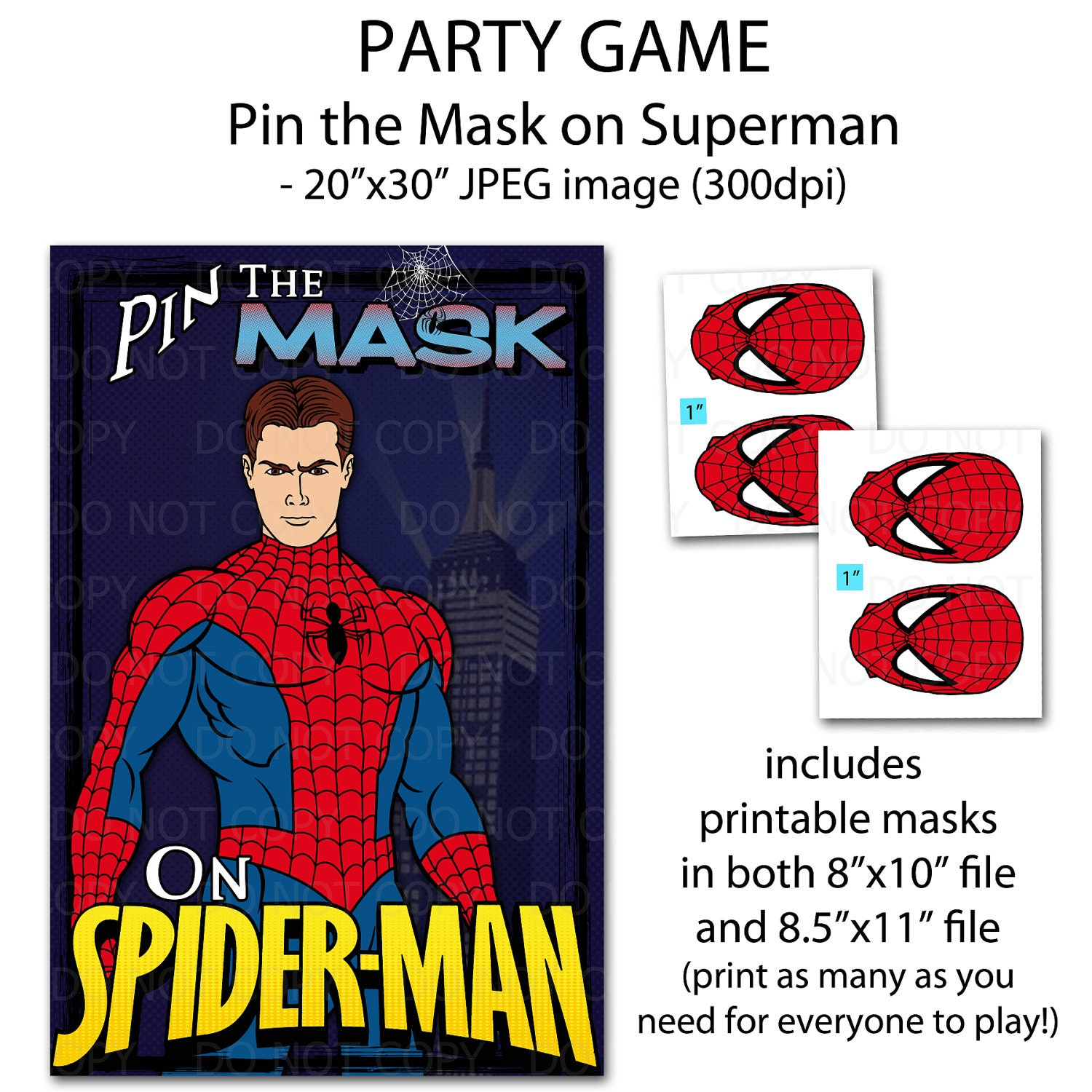 printable diy pin the mask super hero party game poster