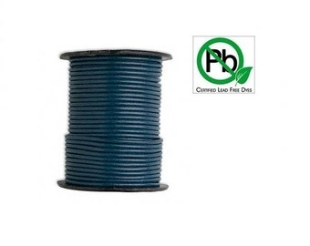 Round Leather Cord Blue 2mm 25meters