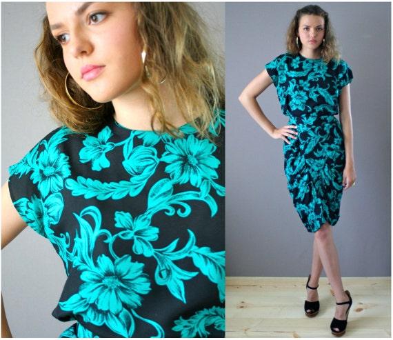Vintage 80s Bold Print Wiggle Dress