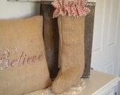 Burlap Christmas Stocking with Ticking Ruffle - Ready to ship