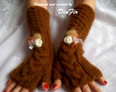 HAND  KNITTED  GLOVES / Women Accessories Mittens Fingerless Wrist Warmers Elegant Winter / Crochet Romantic Warm Feminin Gift Cabled Arm 61