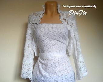 LIQUIDATION Stock SALE 30% OFF / Oversized Shrug Bolero Wedding Bridal Accessories Hand Knitted Gift Crochet Jacket Cardigan Women Capelet
