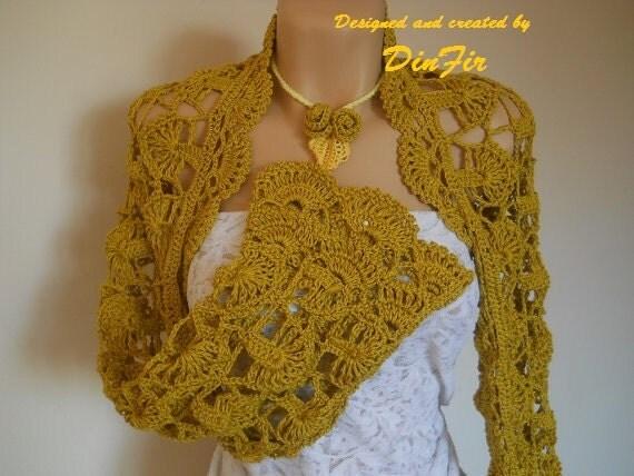 Pure  COTTON  SHRUG  BOLERO,  Crocheted  Necklace  Lariat, Women Mustard Bolero Shrug