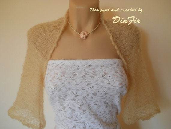 BRIDAL,   BOLERO,  SHRUG,  Hand Knitted, Women, Jacket, Elegant, Romantic, Stylish, Feminine, Summer, Vest, Hand made, Fashion, Wedding