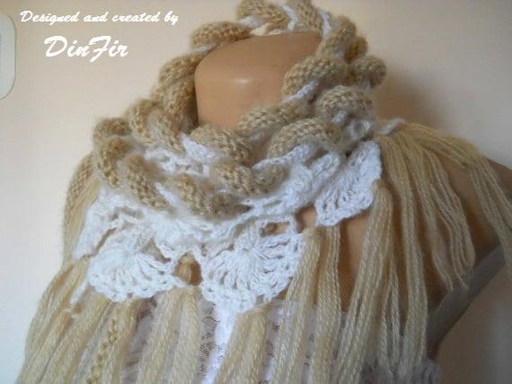 "MOHAIR SCARF ""KATY"" / Women Accessories Scarves Loop Feminine Neckwarmer Muffler Elegant Warm / Winter Romantic Fringes Fashion Stylish Lace"