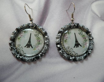 Eiffel Tower Bottlecap Earrings