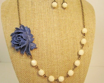 Rustic Wedding Jewelry Navy Blue Statement Necklace Flower Necklace Navy Blue Jewelry Nautical Wedding