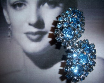 Unsigned Blue Topaz Chaton Earrings