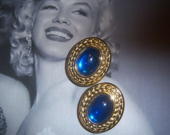 Trifari Signed Translucent Sapphire Blue Glass Earrings
