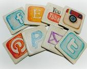 Phone app icon coasters set of 8