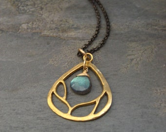 Branch necklace with faceted labradorite - vermeil and sterling silver