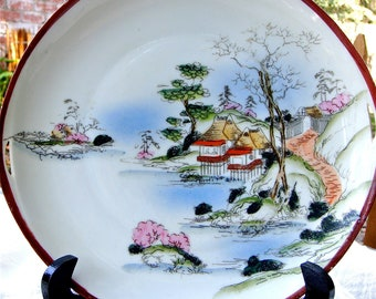 Vintage Japanese Platter and  Four Luncheon Or Dessert Plates Hand Painted