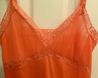 Sexy Vintage Coral Peach Slip by Frederick and Nelson
