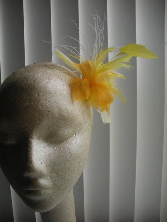 Sunshine Yellow Feather Headpiece