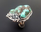 Handmade Unusual Sterling Silver and Turquoise Ring - One of a Kind Original Turquoise Ring with Silver Detail - size 6.5