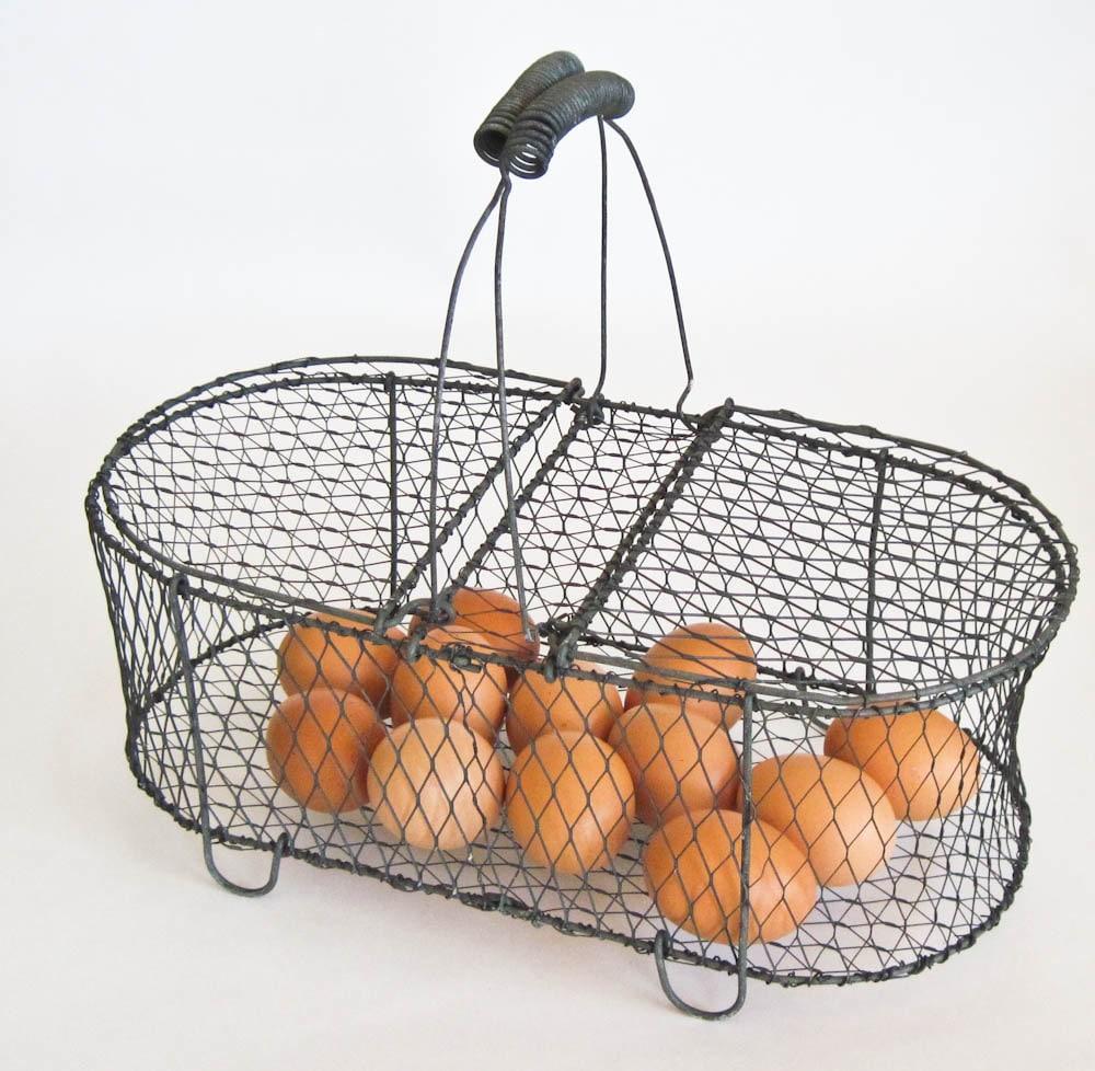chicken wire egg basket two sided basket. Black Bedroom Furniture Sets. Home Design Ideas