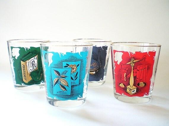 Vintage Cocktail Glasses, Mid Century Barware,  Alchemist