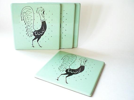 Vintage Coasters /  Hanging Rooster Trivet / Mint Green