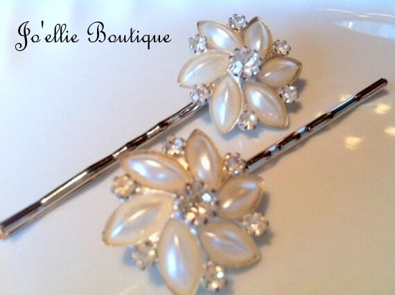 bobby pins...hair pins...hair accesories....vintage beads....pearl....rhinestone....wedding....bride....flower girl....victorian