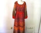 Radiant Red: Vintage Floral Maxi Dress
