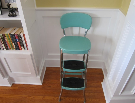 Reserved For Colleen 1950s Cosco Aqua Fold Out Step Chair Pick