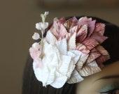 20% Off - Blush Ombre Velvet Leaf Fascinator