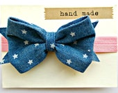 Baby Bow Headband - Denim Headband with stars and pink band