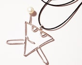Mr.Happy Triangle Man (sterling silver) Necklace with a pearl (free shipping)