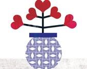 FLOWER of LOVE art print - modern geometric illustration // blue, red print