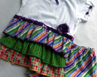Girls size 4 t-shirt dress with matching shorts