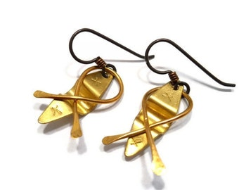Fun Earrings Metal Jewelry Kayak Earrings Kinetic Earrings Hand Forged Brass, Hypo Allergenic Niobium Ear Wires