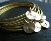 set of 8 gold initial bangle bracelets, Eight gold bangles, bridesmaid gifts, personalized jewelry, monogram bracelet
