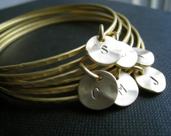 set of 8 gold initial bangle bracelets, Eight gold bangles, bridesmaid gifts, personalized jewelry, monogram bracelet