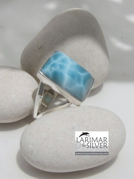 Larimar turtleback ring, Atlantis Tales - marvelous aquamarine Larimar faceted gemstone - US 7.5