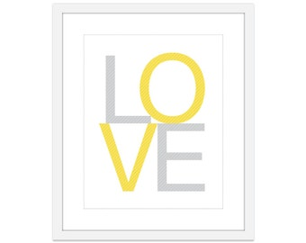 LOVE Print - Yellow and Grey Home Decor Typography Poster - Love Wall Art - Love Nursery Print - Modern Love Print - Yellow And Gray