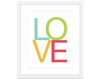 LOVE Art Print Typography Poster Modern Home Decor Wedding Gift Spring Summer Colors