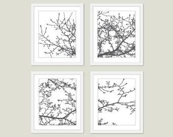 Magnolia Tree Digital Art Prints -  Modern Nature Wall Art - Set of Four - Charcoal Grey - Woodland Home Decor