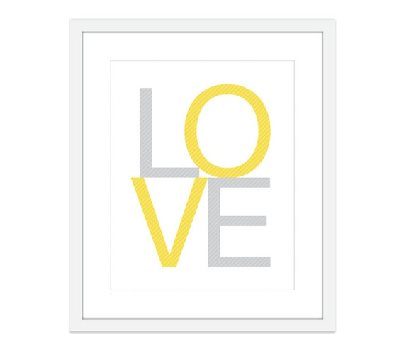 LOVE Print - Yellow and Grey Home Decor Typography Poster - Love Wall Art - Love Nursery Print - Modern Love Print - Yellow And Gray