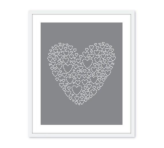 Love Heart Digital Art Print Nursery Unique Modern Home Neutral Slate Grey