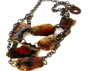 LP 286    Brown and Red Free form Sardonyx  Agate Gemstone, Brass and Bronze OOAK Statement Necklace
