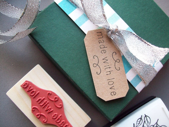 Made with Love Stamp - Christmas Tags, Pretty Packaging Rubber Stamp