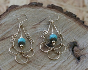 Dangle Earrings,Turquoise  Earrings, Goldfielld Earrings,  Handmade Goldfielld Earrings